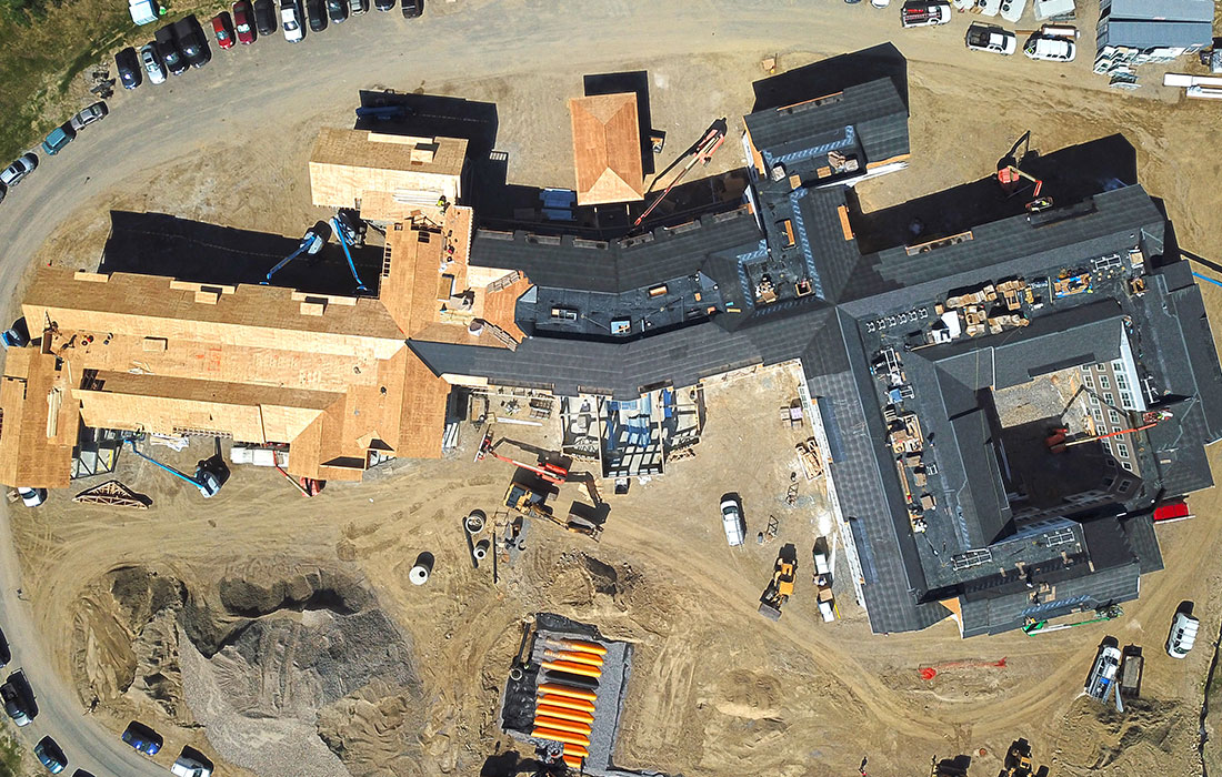 Aerial image, Bowman Place at Olde Bedford, June 2020 Construction Update, Eckman Construction